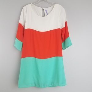 Lulus XS colorblock 3/4 sleeve dress    A2